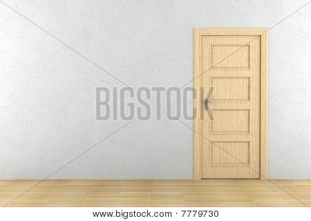 closed brown wooden door on white wall