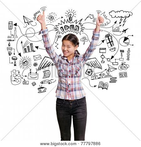 Winning idea concept. Asian girl shows well done with both hands