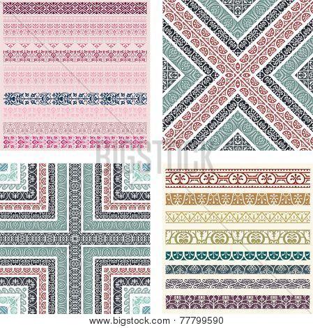 Border decoration elements patterns. Vector illustrations.