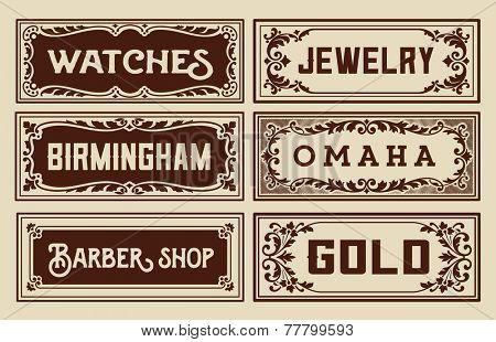 Old advertisement banners - Vintage illustration