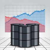 stock photo of petroleum  - Oil barrel on the background graphics prices - JPG
