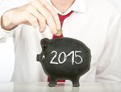 image of economizer  - businessman putting money on a piggy bank with a year 2015 drawing  - JPG