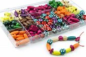 picture of beads  - DIY wooden bracelet kit box with assorted wooden beads - JPG