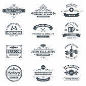 image of barbershop  - Retro black logo emblems set with woodworks barbershop restaurant isolated vector illustration - JPG