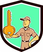 image of locksmith  - Illustration of a locksmith standing balancing key on palm hand set inside shield crest on isolated background done in cartoon style - JPG