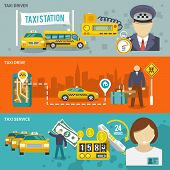 stock photo of designated driver  - Taxi public auto transport banner set with driver drive service isolated vector illustration - JPG