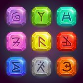 Постер, плакат: Shiny square stones with fantastic symbols