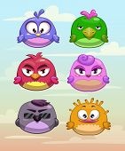 pic of primitive  - Set of funny round birds characters on the cloudy sky background - JPG