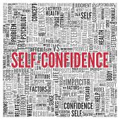 image of self-confident  - Close up Red SELF CONFIDENCE Text at the Center of Word Tag Cloud on White Background - JPG