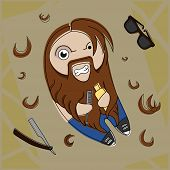 pic of redneck  - Funny hairy hipster bearded dude with comb and hair gel - JPG