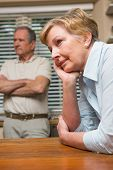 picture of argument  - Senior couple having an argument at home in the kitchen - JPG