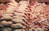 stock photo of turkey-hen  - Chicken meat for sale in a butcher shop  - JPG