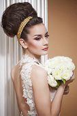 foto of beauty salon interior  - beautiful and fashion bride in luxury interior - JPG