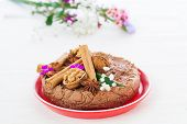 image of cheesecake  - Vegan raw cheesecake with walnuts and spices - JPG