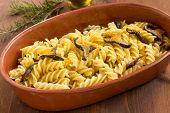 stock photo of mullet  - dish of italian pasta stuffed with mushrooms and bottarga - JPG