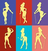 stock photo of cabaret  - pin up style silhouette of dancing woman perform cabaret burlesque show - JPG