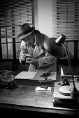 picture of caught  - Retro spy agent caught photographing important documents on office desk 1950s style - JPG