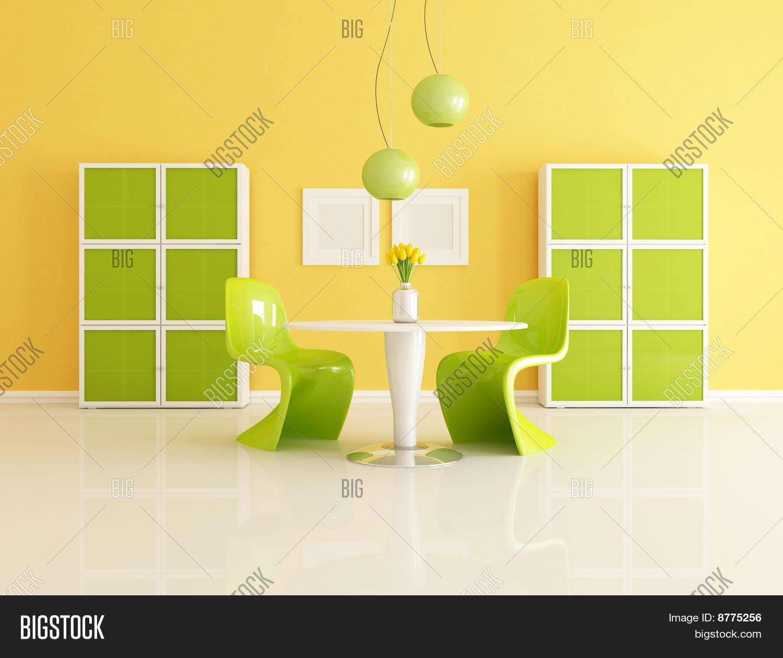 Green Yellow Dining Room Image Photo Bigstock