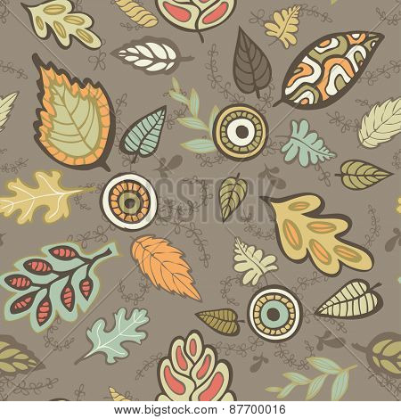 Seamless pattern with autumn leaves, vector illustration