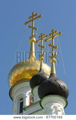 Domes Of Iverskaya Church In Orel, Russia