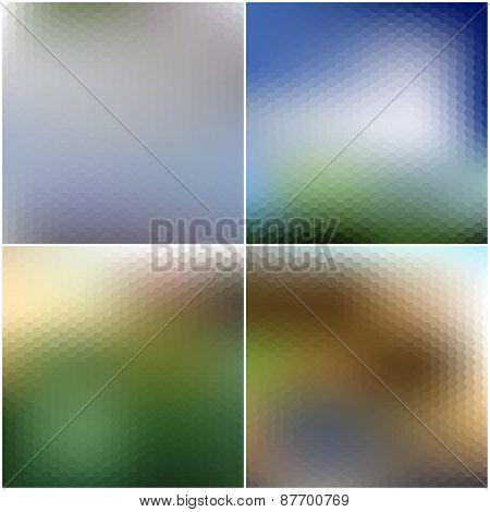 Vector set of nature blurred hexagonal unfocused backgrounds