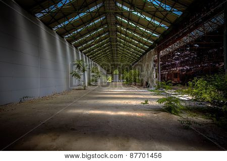 Industrial interior with bright light