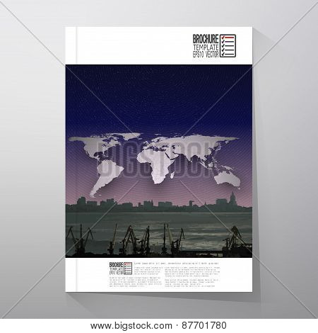 Shipyard and city landscape, night design, world map vector. Brochure, flyer or report for business,