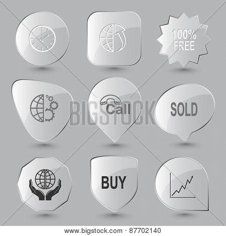 Business set. Raster glass buttons.