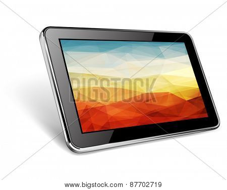 Modern black tablet pc with abstract background on screen