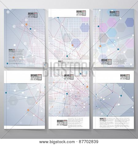 Brochure, flyer or reports with molecular structure for communication, template vector
