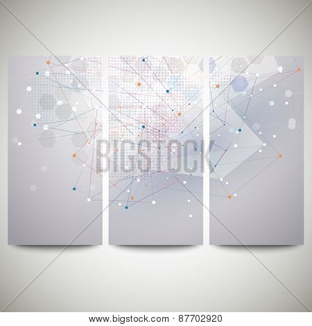 Abstract flyers set, molecular vector design. Molecule structure, blue background for communication,