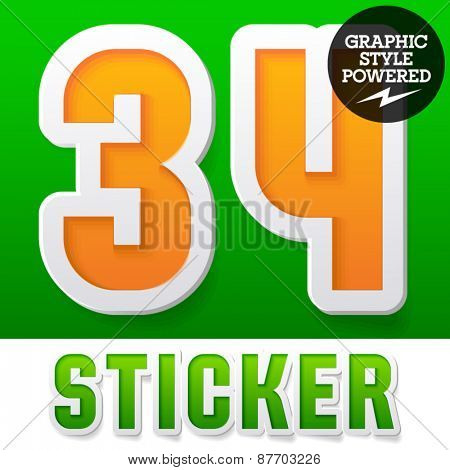 New fresh spring font. Number 3 4