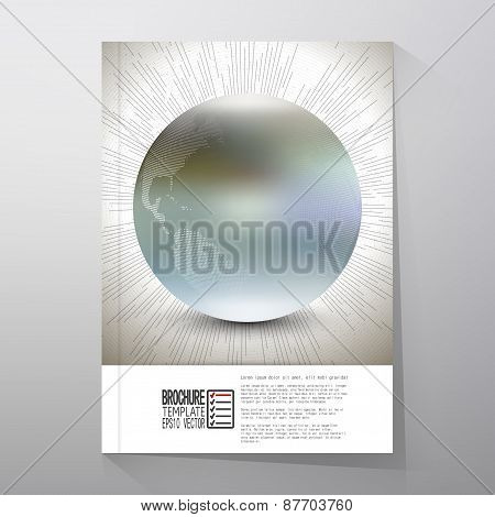Abstract dotted world globe with vintage style star burst, retro vector design. Brochure, flyer or r