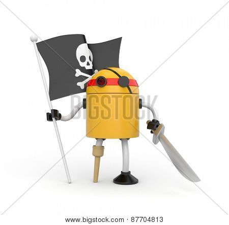 Orange robot pirate with a wooden leg, sword and a flag with Jolly Roger