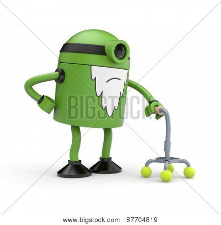 Old green cyclop robot whose back pain holding a crutch