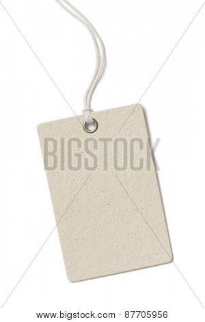 Blank rough cardboard price tag or label isolated