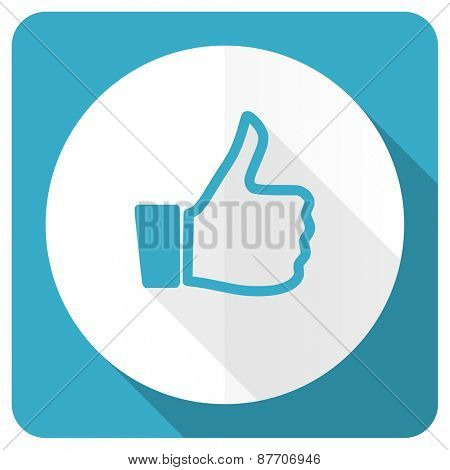 blue flat icon thumb up sign