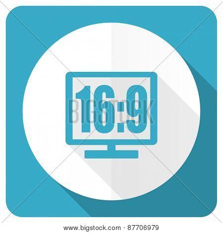 16 9 display blue flat icon