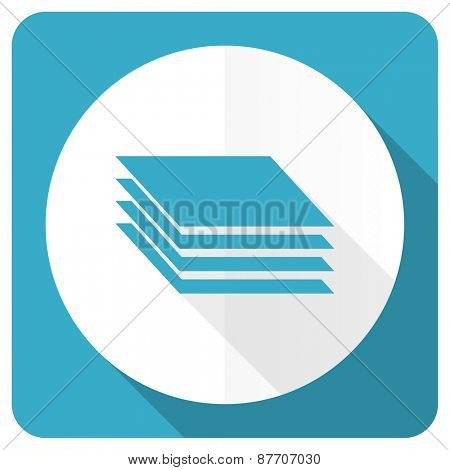 layers blue flat icon gages sign