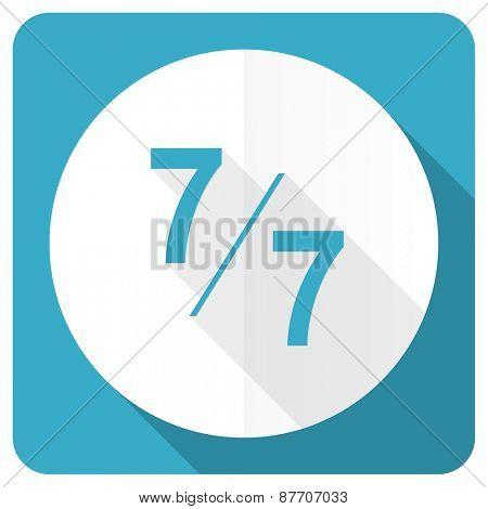 7 per 7 blue flat icon