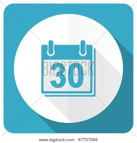 calendar blue flat icon organizer sign