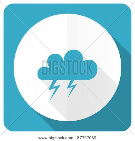 storm blue flat icon waether forecast sign