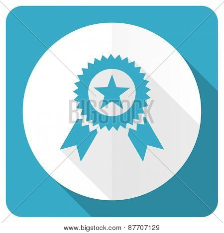 award blue flat icon prize sign