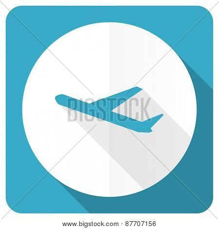 plane blue flat icon airport sign