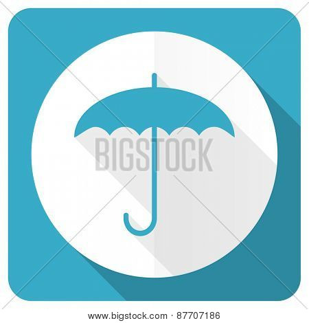 umbrella blue flat icon protection sign