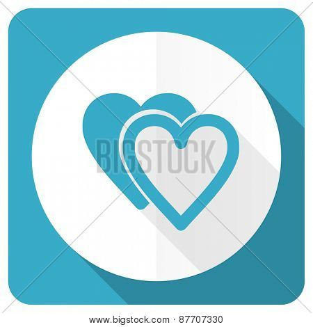love blue flat icon sign hearts symbol