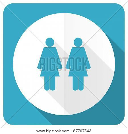 couple blue flat icon people sign team symbol