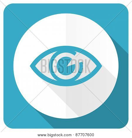eye blue flat icon view sign