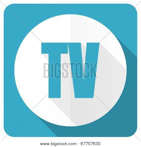 tv blue flat icon television sign