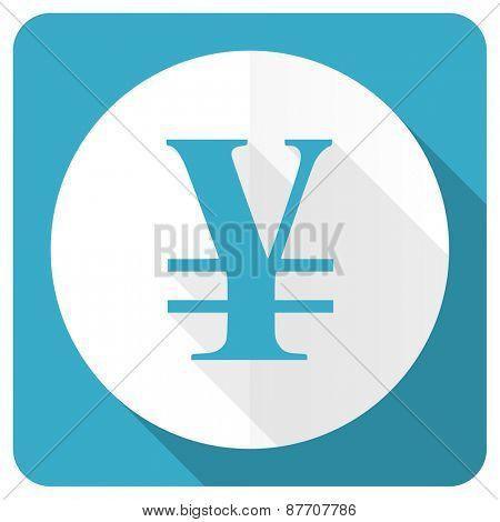 yen blue flat icon